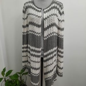 James Perse Open Knit Cotton Cardigan Sweater